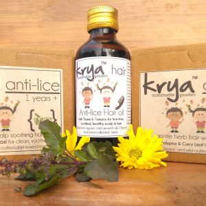 Krya 3 part anti lice hair system that safely and naturally repels lice and soothes the scalp