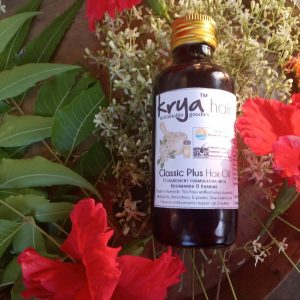 Krya Classic Plus Hair Oil balances sebum production, cuts down premature greying, strengthens hair and reduces hair thinning