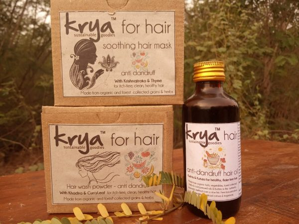 Krya Anti dandruff hair system is a 3 part system that cleanses, cuts down fungal growth a nd nourishes dandruff prone hair