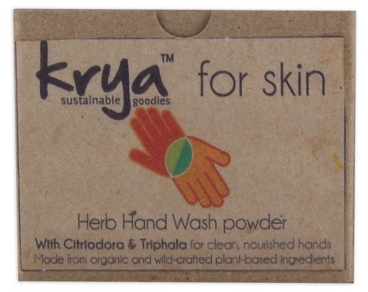 Krya herb hand wash is a whole herb ayurvedic choornam formulated to clean hands gently - best used before cooking in the kitchen