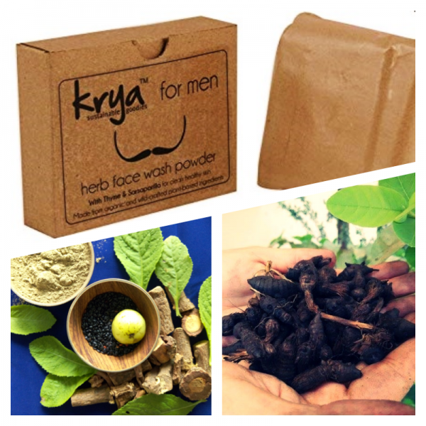 Krya Men's face wash is a holistic natural face wash that deep cleanses and unclog's Men's facial skin
