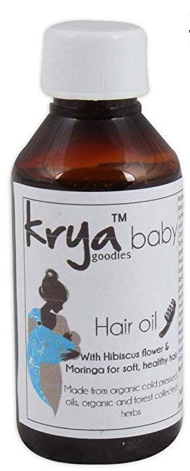 Krya baby hair oil is an ayurvedic formulation designed to support babys hair growth and rapid brain development in the first 3 years