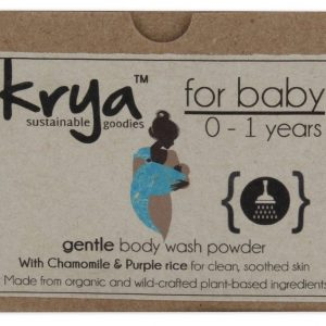 Krya Gentle baby bodywash powder is a safe, non toxic and gentle soap substitute for sensitive babys skin