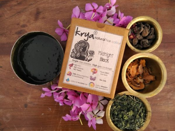 Krya Midnight black - dark black colour with Indigo & other herbs - purely natural, no PPD or any chemicals