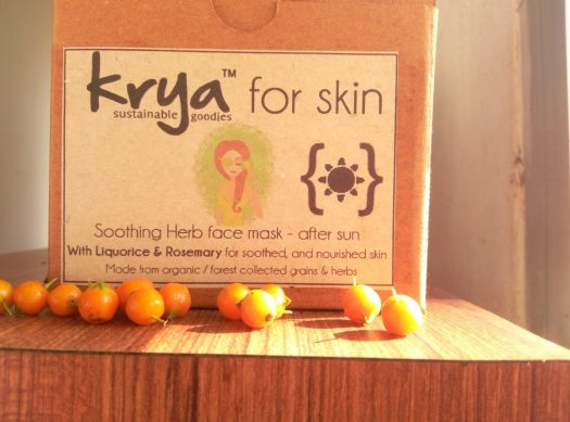 Krya after sun face mask to cool, balance and heal sun burned skin
