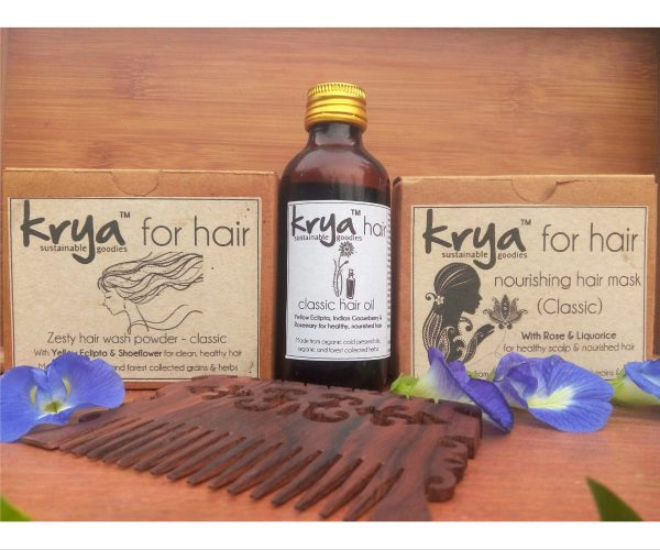 Krya Classic hair nourishing system is a 3 part hair system that cleanses, unclogs the scalp, and provides balanced nourishment to oily pitta prone hair