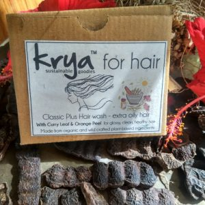 Krya Classic Plus hair wash is designed to intensely de-clog and through clean grimy, pitta prone scalp and hair