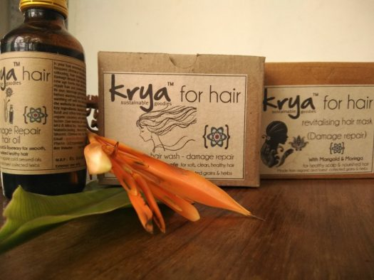 Krya Damage repair hair system - a 3 part hair care system to detoxify, cleanse and nourish chemically damaged hair