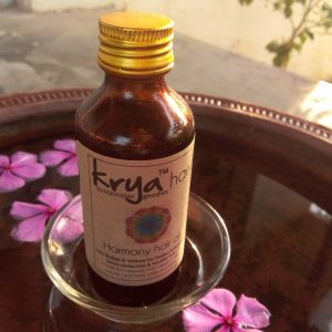 Krya harony hair oil is designed to calm and sooteh teh brian - useful in stress related hairfall & high anxiety