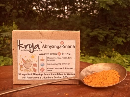 Krya Intense Women's Ubtan pairs with Intense Abhyanga oil to balance vata dosha in the body